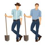 Vectorillustratie van landbouwer met schop Royalty-vrije Stock Fotografie
