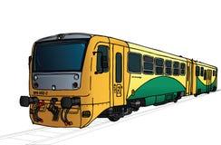 Vectorillustratie van lange trein in perspectief vector illustratie