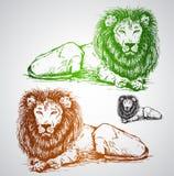 Vectorillustratie van leeuw naadloos patroon Royalty-vrije Stock Fotografie