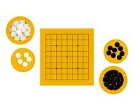 Vectorillustratie van lege goban en kommen met stenen royalty-vrije stock afbeeldingen