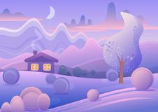 Vectorillustratie van leuk beeldverhaallandschap met plattelandshuisje in purper de winterbos Royalty-vrije Stock Foto's