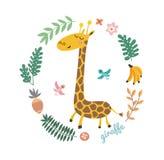 Vectorillustratie van leuke giraf en tropische bladeren Kinderachtige achtergrond met glimlachend beeldverhaalkarakter Stock Foto's