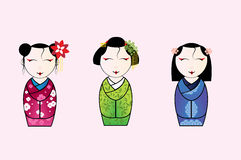 Vectorillustratie van leuke Japanse geishareeks Royalty-vrije Stock Foto's