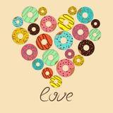 Vectorillustratie van liefde voor doughnut Vector Illustratie