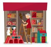 Vectorillustratie van lokale wierook en papier-bewerkt aanbiedend winkel in Hong Kong royalty-vrije illustratie