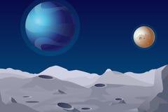 Vectorillustratie van Maanlandschap met kraters Mooie planeten op achtergrond stock illustratie