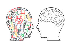 Vectorillustratie van machineshoofd van cyborg en menselijke met de hersenen vector illustratie