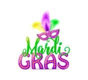 Vectorillustratie van Mardi Gras-tekstteken met Venetiaans maskerademasker Royalty-vrije Stock Afbeelding