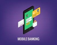 Vectorillustratie van mobiel bankwezen met gebruikersinterface Royalty-vrije Stock Fotografie