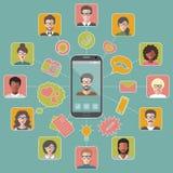 Vectorillustratie van mondiale communicatie en sociaal net met verschillende mensen vlakke app pictogrammen vector illustratie