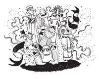 Vectorillustratie van Monsters en leuke vreemde vriendschappelijk Stock Afbeeldingen