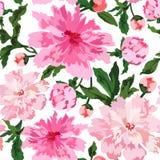 Vectorillustratie van mooi kleurrijk pioenen naadloos patroon royalty-vrije illustratie