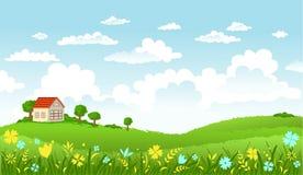 Vectorillustratie van mooi landschap Stock Afbeelding