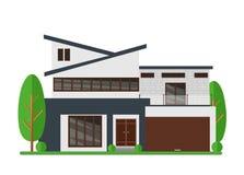 Vectorillustratie van mooi modern onroerende goederenhuis Het huis van de familiedroom Architecten bedrijfsconcept facade vector illustratie