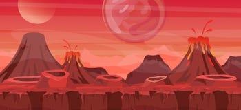 Vectorillustratie van mooi vreemd landschap Koel een andere wereldachtergrond voor spelontwerp, vreemde planeet in rood vector illustratie