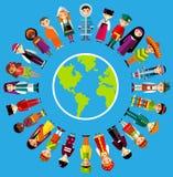 Vectorillustratie van multiculturele nationale kinderen, mensen op aarde Stock Afbeelding