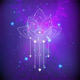 Vectorillustratie van mysticussymbool Lotus op abstracte achtergrond Geometrisch die teken in lijnen wordt getrokken Purpere en r vector illustratie