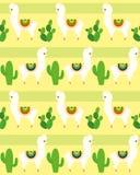 Vectorillustratie van naadloos patroon met binnen alpaca en lama's, grappige lama en cactus kleurrijk patroon voor textiel royalty-vrije illustratie