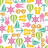 Vectorillustratie van naadloos patroon met de zomersymbolen Stock Afbeeldingen