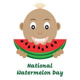 Vectorillustratie van nationale watermeloendag Stock Foto