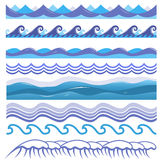 Vectorillustratie van oceaan, overzeese golven, brandingen en Royalty-vrije Stock Foto's