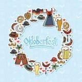 Vectorillustratie van Oktoberfest-geplaatste elementen Royalty-vrije Stock Foto's