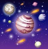 Vectorillustratie van open boek met ruimteelementen - zonnestelsel, ruimteveer, planeten, sterren, Aarde, komeet Conc verbeelding royalty-vrije illustratie