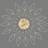 Vectorillustratie van oranje plakken met bladeren Royalty-vrije Stock Afbeelding