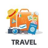 Vectorillustratie van oranje uitstekende koffer met verschillende reiselementen Royalty-vrije Stock Afbeelding