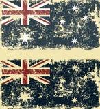 Vectorillustratie van oude gekraste vlaggen van Australië stock afbeelding