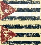 Vectorillustratie van oude gekraste vlaggen van Cuba stock afbeelding