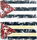 Vectorillustratie van oude gekraste vlaggen van Cuba stock afbeeldingen