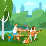 Vectorillustratie van paar die picknick in park hebben stock illustratie