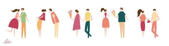 Vectorillustratie van paren in liefde royalty-vrije illustratie