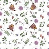 Vectorillustratie van patroon met bloemen, bladeren, uilen stock illustratie