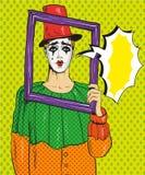 Vectorillustratie van Pierrot, omlijsting, pop-art grappige stijl royalty-vrije illustratie