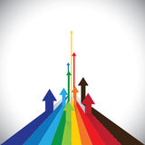 Vectorillustratie van pijlen die sommige winnaars & sommige verliezers tonen Stock Foto
