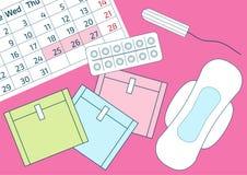 Vectorillustratie van pillen en een kalender van de bloedperiode De pijnbescherming van de menstruatieperiode, sanitaire stootkus vector illustratie