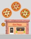 Vectorillustratie van pizzarestaurant in vlakke stijl Stock Afbeeldingen