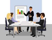 Vectorillustratie van presentatie Groepswerk, managerzakenman die de presentatie leiden tijdens de vergadering in bureau royalty-vrije illustratie