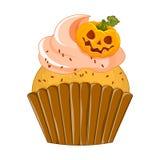 Vectorillustratie van purpere cupcake van Halloween op witte achtergrond De gelukkige Enge Snoepjes van Halloween royalty-vrije illustratie