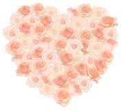 Vectorillustratie van realistisch, gedetailleerd hartboeket in perzikkleur op witte achtergrond Stock Afbeelding