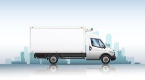 Vectorillustratie van realistische bestelwagen op een stadsachtergrond royalty-vrije stock afbeelding