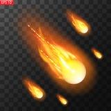 Vectorillustratie van realistische dalende komeet Ge?soleerde transparante achtergrond Vallende ster, meteoor vector illustratie
