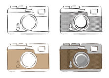Vectorillustratie van retro camera's Stock Foto