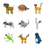 Vectorillustratie van robot en cybernetisch embleem Reeks van robot en het symbool van de automatiseringsvoorraad voor Web royalty-vrije illustratie