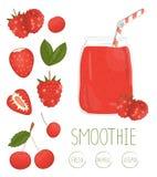 Vectorillustratie van rode bes smoothie in een glaskruik royalty-vrije illustratie
