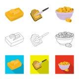 Vectorillustratie van romig en productsymbool Inzameling van romig en landbouwbedrijf vectorpictogram voor voorraad stock illustratie