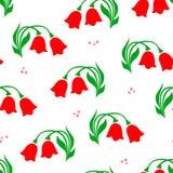 Vectorillustratie van rood eenvoudig tulpenpatroon op witte achtergrond royalty-vrije illustratie