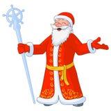 Vectorillustratie van Russisch heel Ded Moroz met gescheiden handen en ijspersoneel stock illustratie
